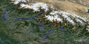Himalaje Garhwalu – poglądowa mapa naszego trekkingu
